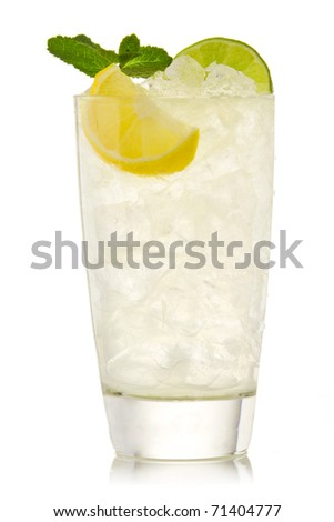 Cocktail with lime and lemon isolation on a white - stock photo