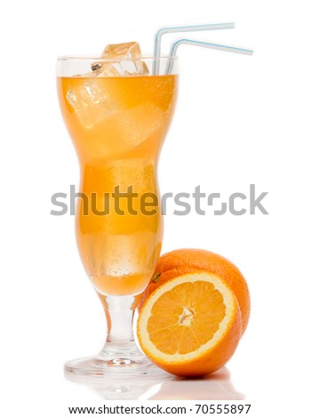 Cocktail with Orange and ice isolation on a white - stock photo