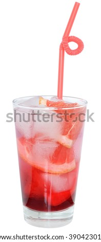 Cocktail with slices of grapefruit and grapefruit juice on a white background.