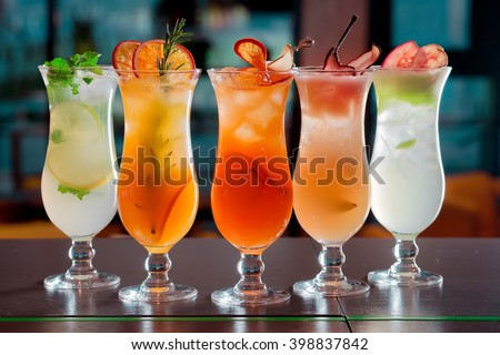 cocktails and soft drinks - stock photo