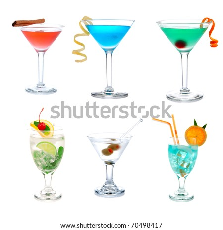 Cocktails collection collage Popular Blue Hawaiian, Tropical and classic Martini, Cosmopolitan and Mojito cocktail beverage isolated on a white background - stock photo