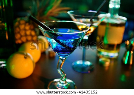 cocktails in a fashion bar - stock photo