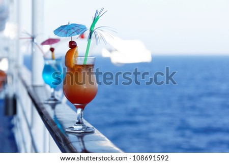Cocktails on a cruise ship in the summer - stock photo