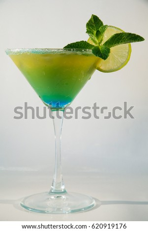 cocktails on white background