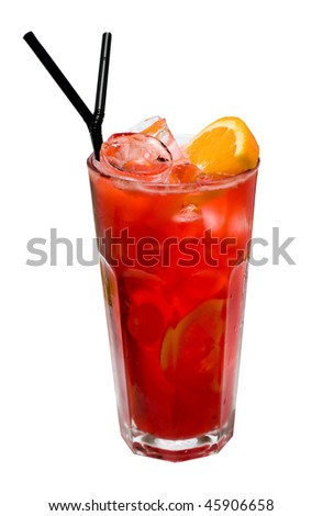Cocktails on white: Tequila Sunrise - stock photo