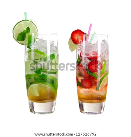 Cocktails over white background - stock photo