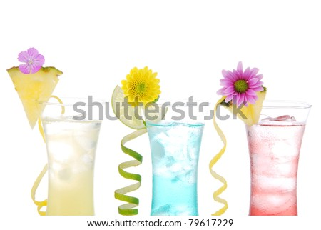Cocktails variation. Blue Curacao hawaiian, mojito, sex on the beach tequila sunrise in cocktail glasses isolated on a white background - stock photo