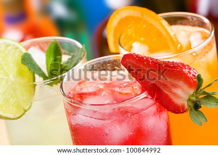 cocktails with fruits and berries - stock photo