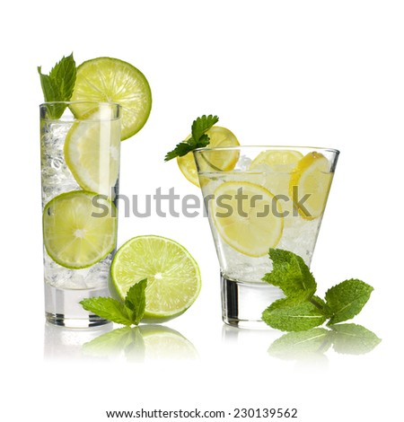 cocktails with lime and lemon - stock photo