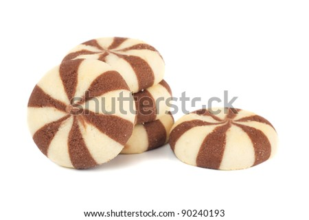 Cocoa and vanilla cookies isolated on white - stock photo