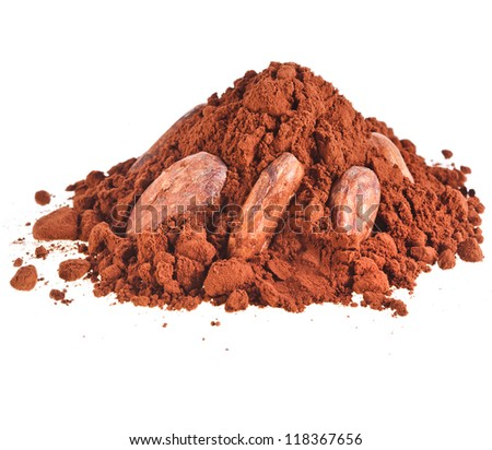 cocoa powder heap with cocoa beans isolated on white background - stock photo