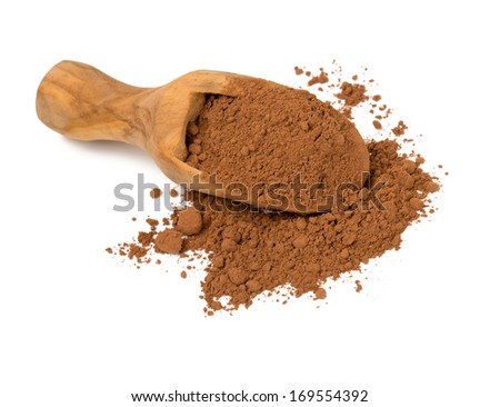 cocoa powder in a scoop isolated on white - stock photo