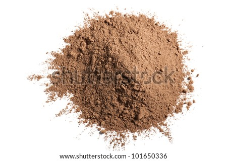 cocoa powder, isolated on white - stock photo