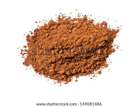 Cocoa powder isolated on white