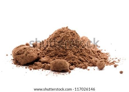cocoa powder on white - stock photo