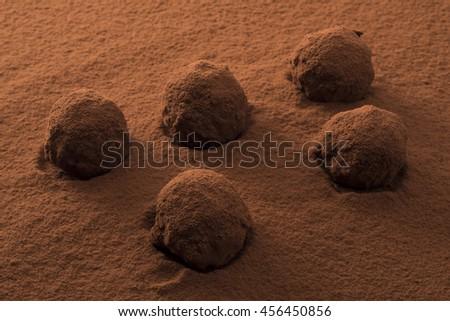 Cocoa powder to chocolate truffle - stock photo