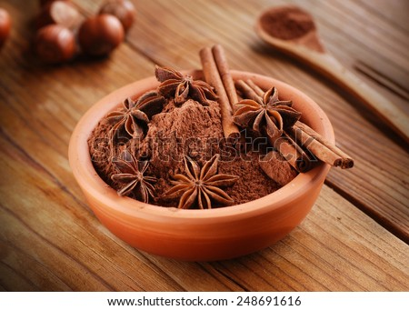 cocoa powder with star anise and cinnamon in the bowl - stock photo