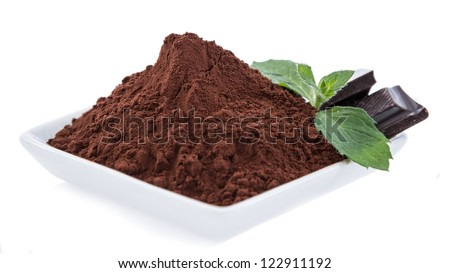 Cocoa with Chocolate pieces isolated on white background - stock photo