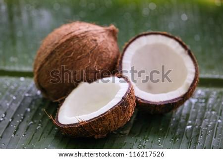 Coconat on banana leaf - stock photo