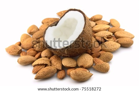 Coconut and almond close up - stock photo