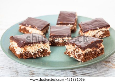 Coconut and chocolate cake - stock photo