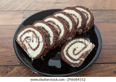 Coconut and Chocolate Dessert - stock photo