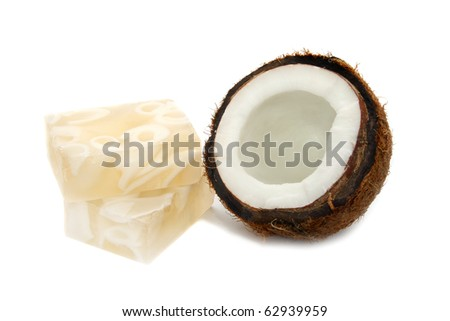 Coconut and coconut soap isolated on white background