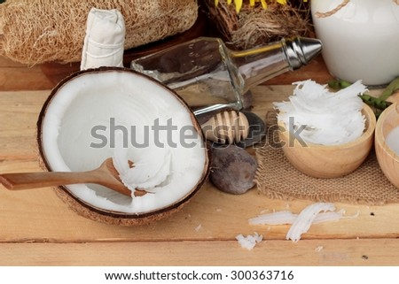 Coconut and milk , oil coco for organic healthy food and beauty spa