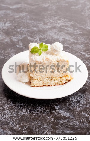 Coconut Cake, close up, vertical - stock photo