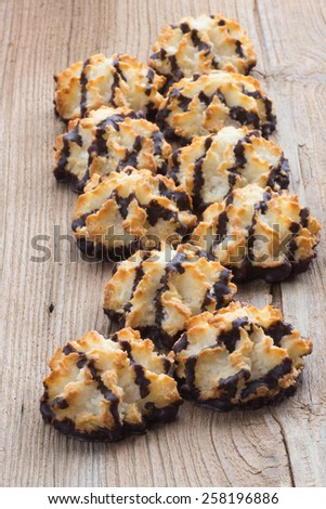 Coconut chocolate macaroons, selective focus  - stock photo