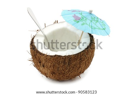 Coconut cocktail on white background - stock photo