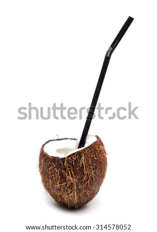 Coconut cocktail with black straw isolated on white - stock photo