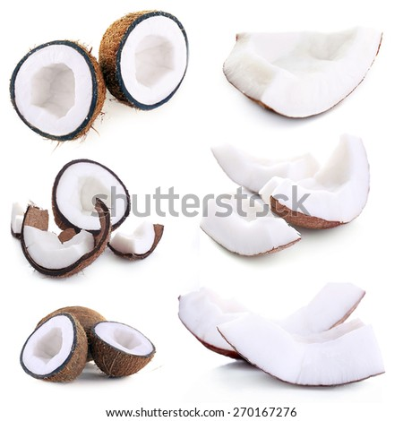 Coconut collage, isolated on white - stock photo