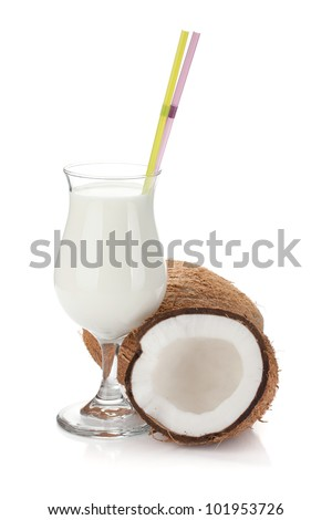 Coconut cream cocktail and coconuts. Isolated on white background - stock photo