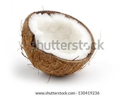 coconut cut in half isolated on white background - stock photo