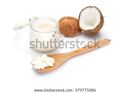 Coconut fat in solid form. On white background. - stock photo