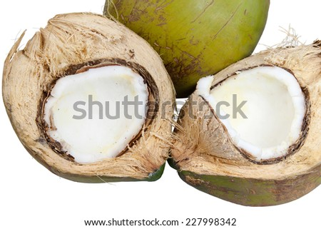 Coconut Fruit is isolated on white background.