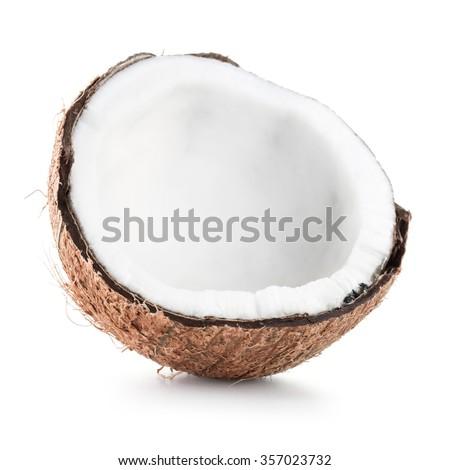 Coconut fruit over white background - stock photo