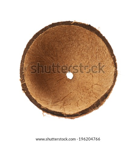 Coconut fruit shell cut in half isolated over the white background - stock photo