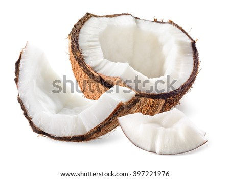 Coconut. Half with pieces on white background - stock photo
