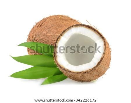 coconut isolated on white background - stock photo