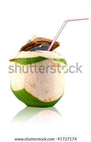 coconut juice with white background - stock photo