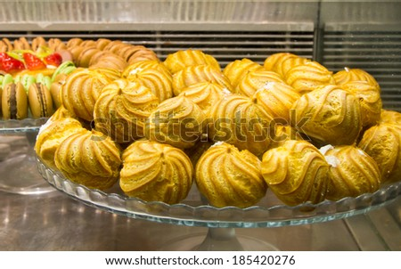 Coconut  macaroons in the  bakery for Passover celebration. - stock photo