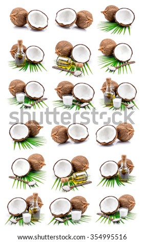 Coconut milk and coconut oil set on white background. - stock photo