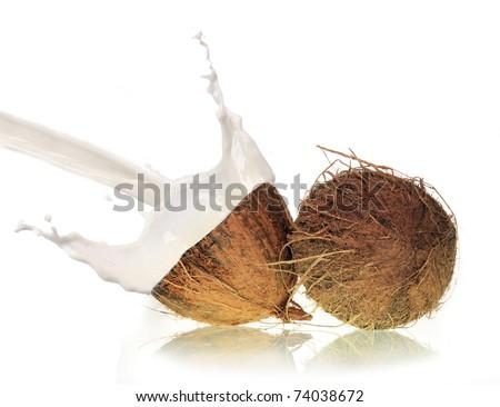 Coconut milk splash - stock photo