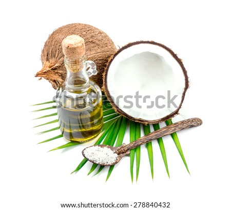 Coconut oil for alternative therapy on white backgroung. - stock photo