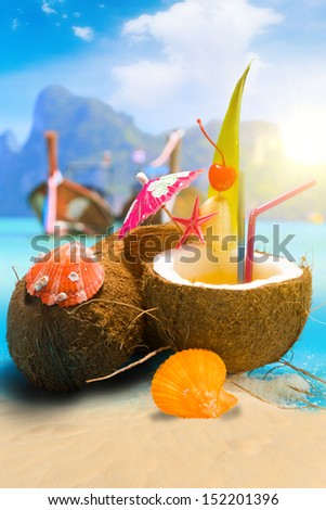 Coconut on the beach in Phi Phi island Thailand - stock photo
