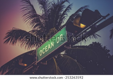 Coconut palm tree against Ocean Drive sign in Miami Beach, Florida. Retro style colors. - stock photo