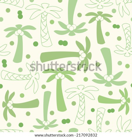 Coconut palm tree silhouette and outline seamless pattern with plant, leaf, stem and nut. Illustration of tropical natural design. Hand drawn elements. Endless print background texture. Retro
