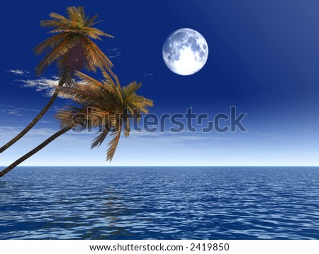Coconut palm trees on a beach - 3d illustration. More in my portfolio. - stock photo